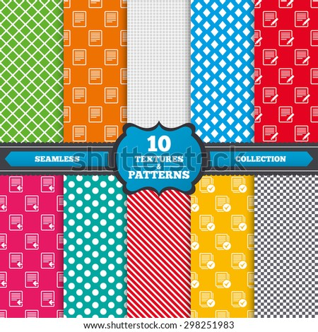 Seamless textures. File document icons. Upload file symbol. Edit content with pencil sign. Select file with checkbox. Endless patterns with circles, diagonal lines, chess cell. Vector - stock vector