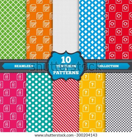 Seamless textures. File refresh icons. Question help and pencil edit symbols. Paper clip attach sign. Endless patterns with circles, diagonal lines, chess cell. Vector - stock vector