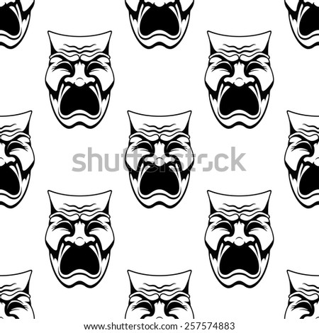 Seamless theater or masquerade masks background with dramatic crying face in doodle sketch style suitable for costume party or entertainment decoration design - stock vector
