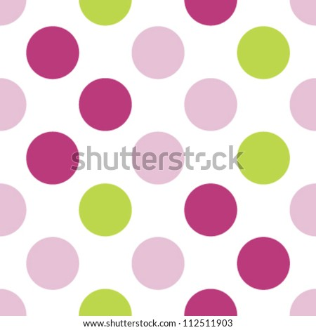 Seamless three color girls polka dot pattern - stock vector