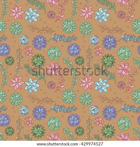Seamless, Tileable Vector Background with Cactus and Succulents - stock vector