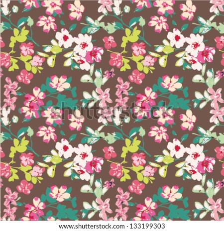 seamless tiny flower pattern background - stock vector