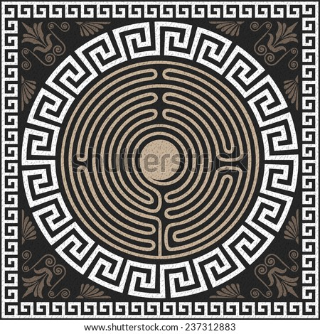 Seamless Traditional vintage white Greek ornament (Meander) and wave pattern on a black background - stock vector