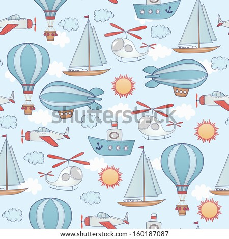 Seamless transportation pattern. Can be used for wallpaper, pattern fills, web page background. - stock vector