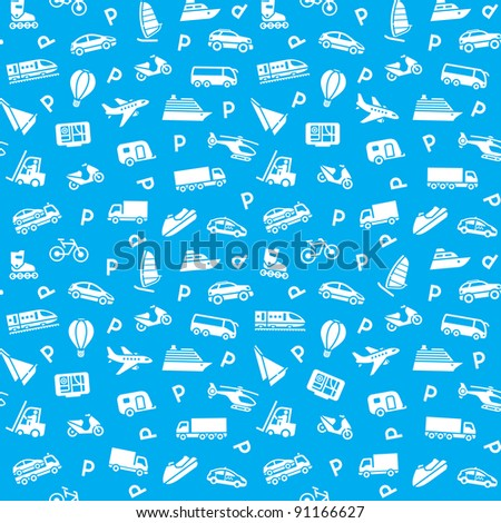 Seamless transports icons pattern, wallpaper, wrapping paper - stock vector