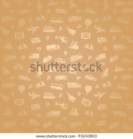 Seamless transports white icons pattern, gold wallpaper - stock vector