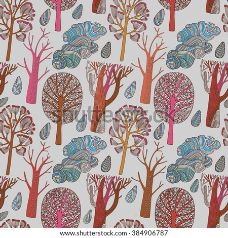 Seamless tree pattern background vector - stock vector