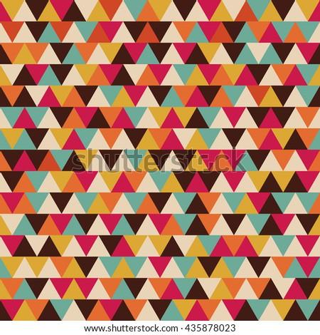 seamless triangle pattern, color stripe, retro style - stock vector