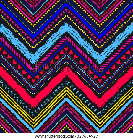 Seamless tribal zigzag pattern background that is hand-drawn with markers. Aztec creative illustration. - stock vector