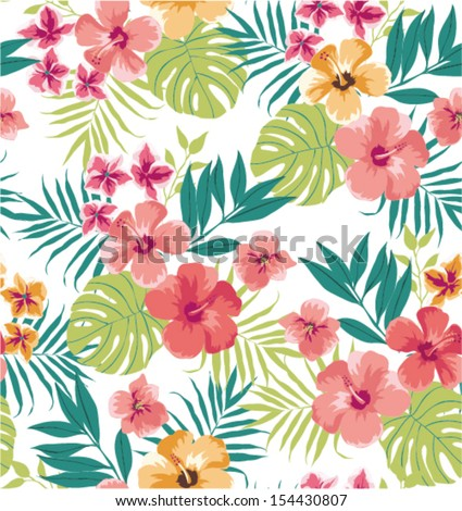 seamless tropical flower vector pattern background - stock vector