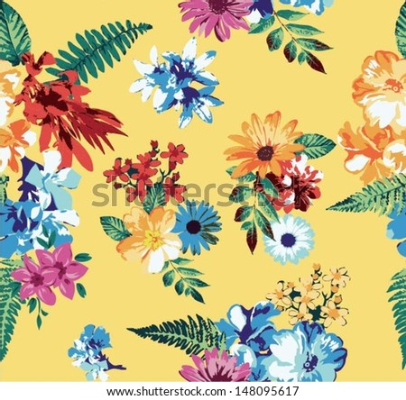 seamless tropical flowers for fashion pattern trend - stock vector