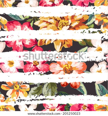 seamless tropical flowers with brush stripe vector pattern background - stock vector