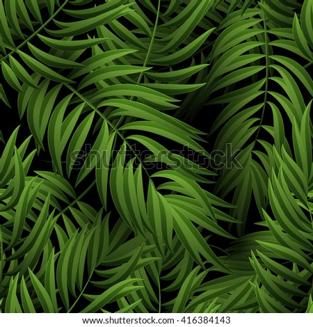 Seamless tropical jungle floral pattern with palm fronds. Vector illustration. Green Palm leaves pattern on black background. - stock vector