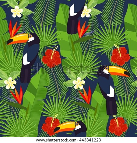 seamless tropical leaves and flowers - palm, monstera, hibiscus and plumeria, strelitzia reginae and tropical birds - stock vector