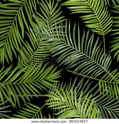 Seamless Tropical Palm Leaves Background - for design, scrapbook - in vector - stock vector