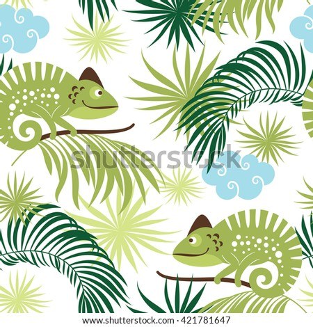 seamless tropical pattern with chameleons - stock vector