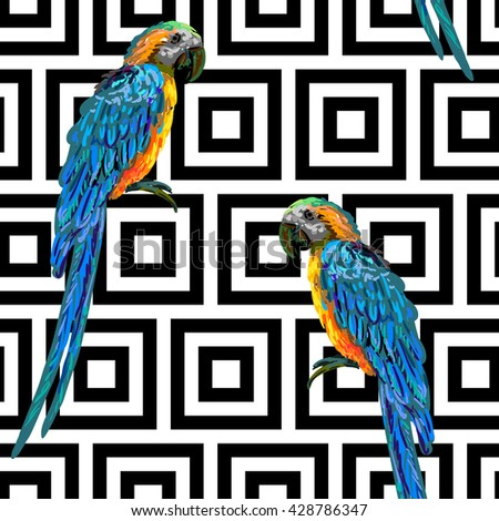 Seamless tropical pattern with exotic parrot bird vector background. Perfect for wallpaper, pattern fills, web page background, surface texture, textile. Exotic summer pattern. Parrot. Tropical design - stock vector