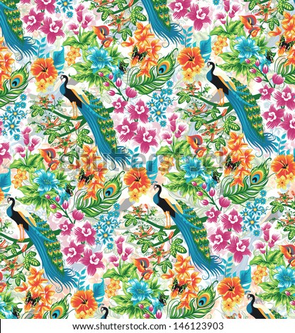 Seamless tropical pattern with peacocks and flowers. - stock vector