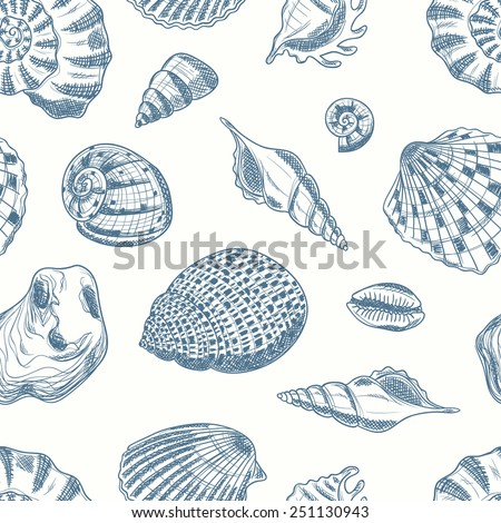 Seamless tropical pattern with seashells. Sea inhabitants. Endless texture can be used for printing onto fabric, pattern fills, surface textures and paper or invitation. Marine life. - stock vector