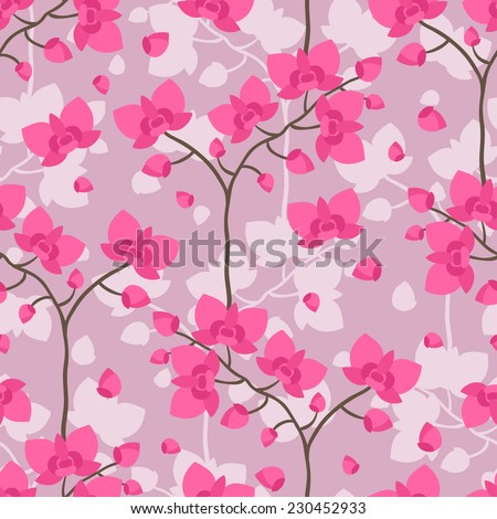 Seamless tropical pattern with stylized orchid flowers. - stock vector