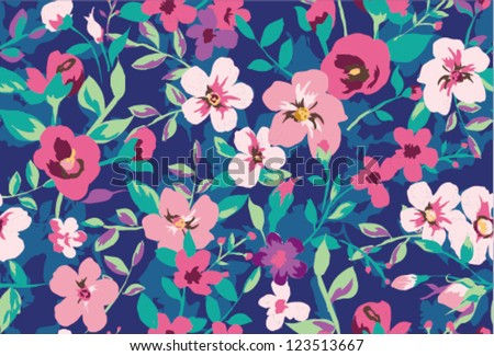 seamless tropical tiny flower  background pattern - stock vector