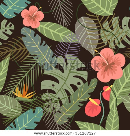 seamless tropical vector pattern with flower and palm leaves on dark background - stock vector