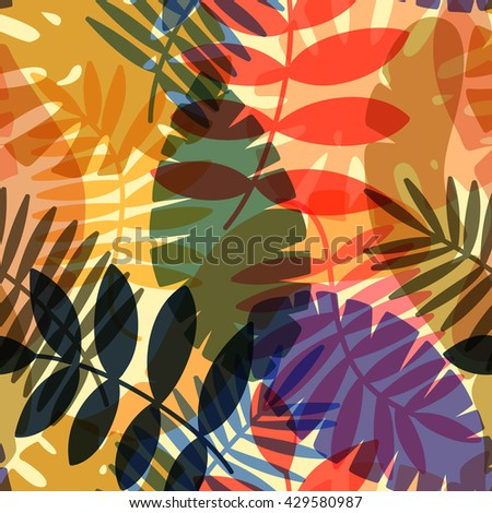 seamless tropical vector pattern with tropical plants and palm leaves - stock vector