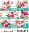 seamless tropical vintage flower pattern on check background - stock vector