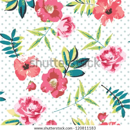 seamless tropical vintage flower vector pattern on dot background - stock vector