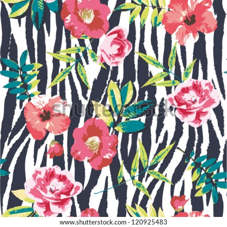 seamless tropical vintage flower vector pattern on zebra background - stock vector