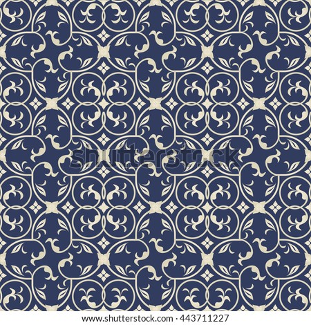 Seamless turkish pattern in dark blue and gold. Endless pattern can be used for ceramic tile, wallpaper, linoleum, textile, invitation card,web page background. - stock vector
