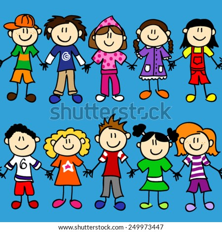 Seamless two rows of cute kid cartoon characters holding hands - stock vector