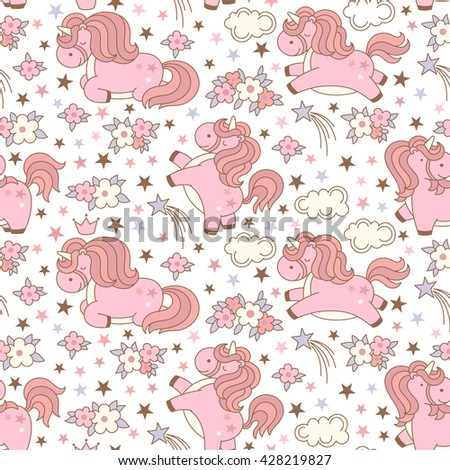 Seamless unicorn pattern with clouds, stars, crown and flowers on white background. Cute cartoon background in japanese style. Vector illustration. - stock vector