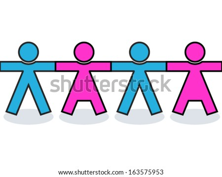 Seamless united men and women people icons or silhouettes in blue and pink, holding hands for strength - stock vector