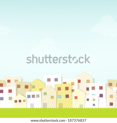 seamless urban landscape. cutout illustration - stock vector