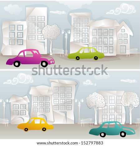 seamless urban sight with paper houses, trees, benches and cars - stock vector