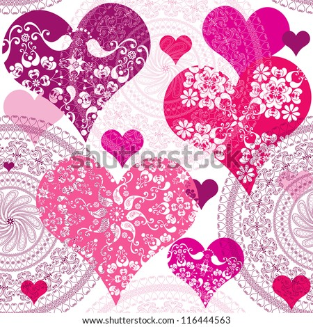 Seamless valentine pattern with flowers and vivid hearts (vector) - stock vector