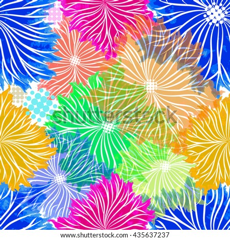 Seamless varicolored flowers background from blots. Vector - stock vector