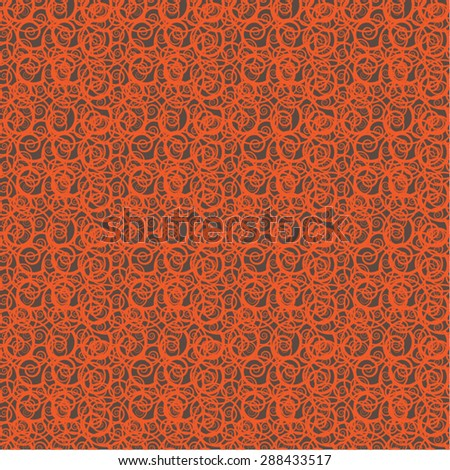 Seamless vector abstract repeated background consisting of mixed speckled orange red chaotic swirls together on brown background suitable and useful for wallpaper backdrops menu or website background  - stock vector