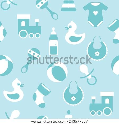 seamless vector baby pattern - stock vector