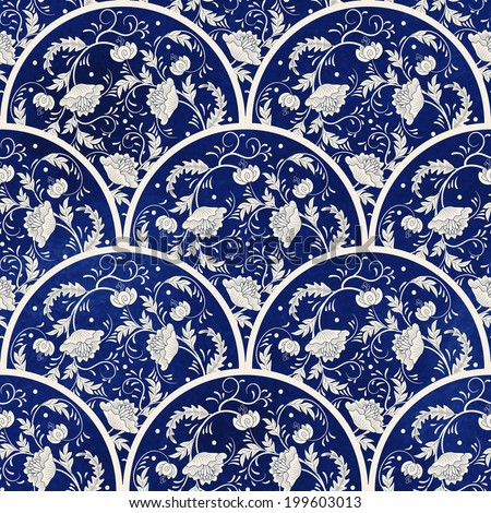 Seamless vector background. Beautiful floral round patterns. Imitation of chinese porcelain painting. Blue watercolor background. Hand drawing. - stock vector