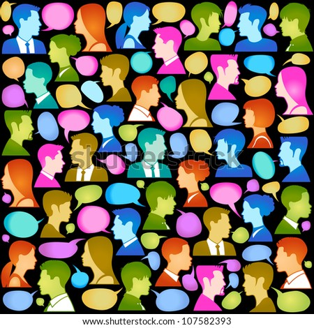Seamless vector  background consists of many icons of modern humans. - stock vector