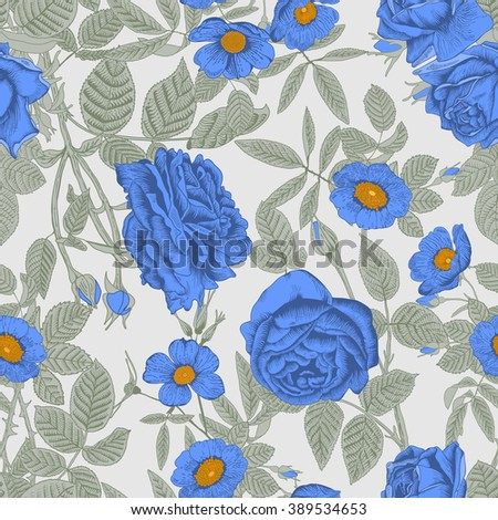 Seamless vector background. Flower texture. Floral ornament. The classic pattern. Vintage. Roses. Delicate blue flowers. - stock vector