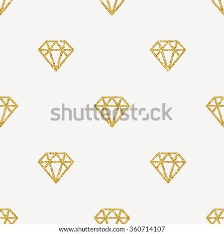 Seamless Vector Background - Glitter gold diamonds - stock vector