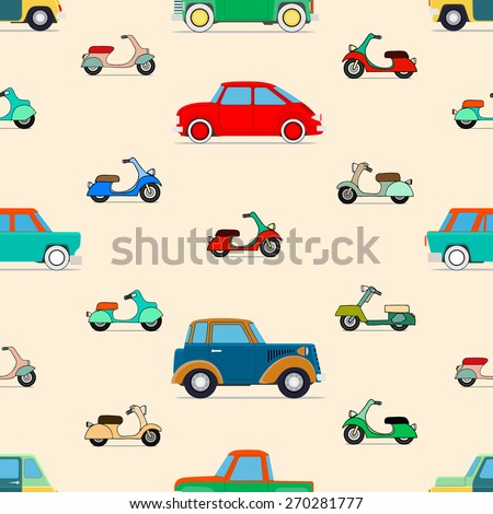 Seamless vector background of vector cars and scooter - stock vector