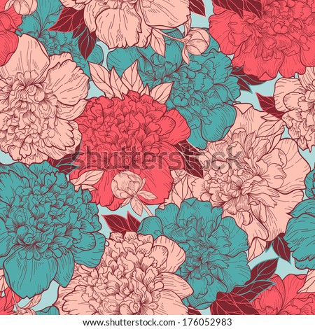 Seamless vector background with beautiful pattern of peonies. Romantic background in vintage style. - stock vector
