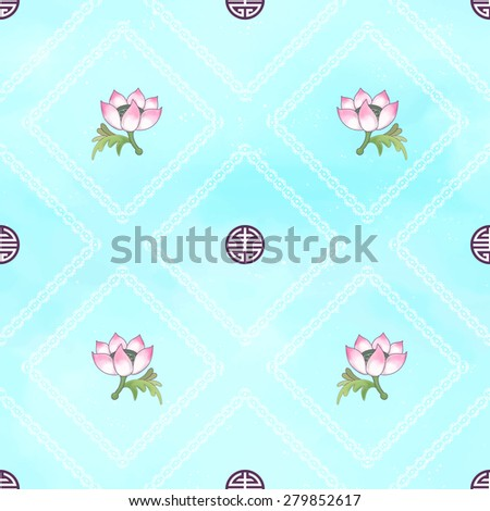 Seamless vector background with beautiful patterns. Imitation of chinese porcelain painting. Watercolor background. Hand drawing. Lotus flowers and leaves are painted by watercolor. - stock vector
