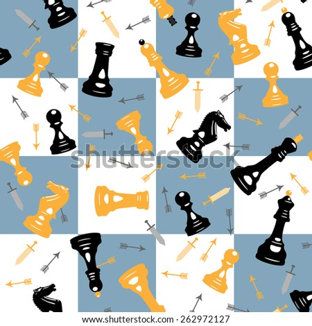 seamless vector background with chess pieces and cells. chess battlefield - stock vector