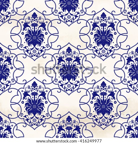 Seamless vector background with curly frames around patterns. Floral pattern on watercolor backdrop. Imitation of chinese porcelain painting. - stock vector