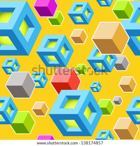 Seamless Vector Background with Different Cubes on Yellow. Modern Art Cubes Pattern - stock vector